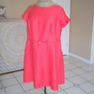 Coral Mid-Woven Linen Princess-Bodice Dress
